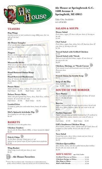 Ale House Menu 5_25_06 - Springbrook Golf & Ale House Restaurant