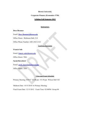 corporate finance syllabus Corporate(finance(syllabus(and(outline(spring(2013(aswath(damodaran(aswath damodaran 1.
