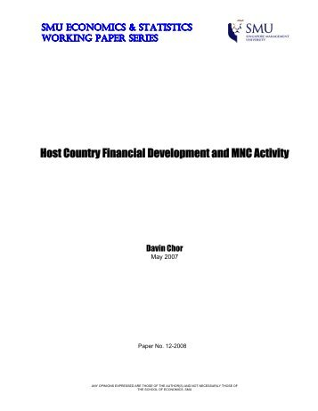Host Country Financial Development and MNC Activity - Singapore ...