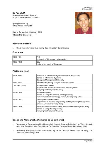 Ee Peng LIM Research Interests Education Position(s) - Singapore ...