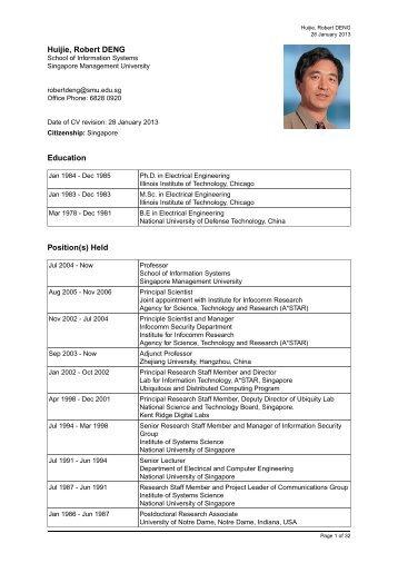 Huijie, Robert DENG Education Position(s) Held - Singapore ...
