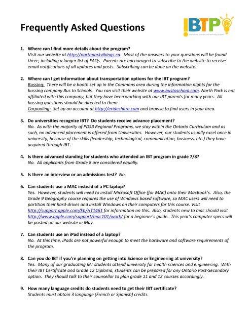 IBT FAQs - North Park Secondary School
