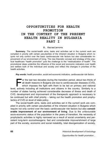 opportunities for health promotion in the context of the present ...