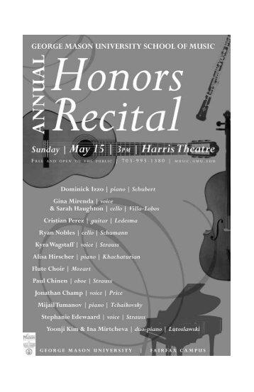 complete recital program - George Mason University School of Music