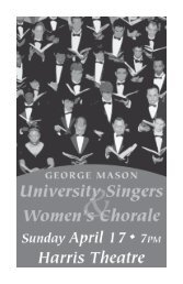 View the Concert Program - George Mason University School of Music