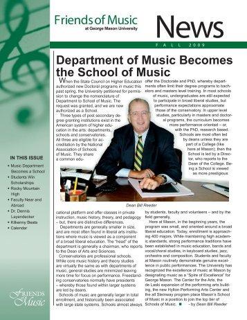 Fall 2009 Newsletter - George Mason University School of Music