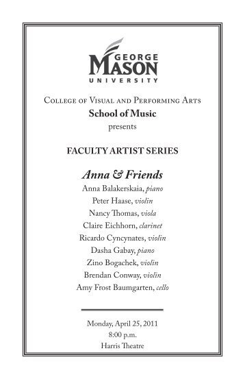Anna & Friends - George Mason University School of Music