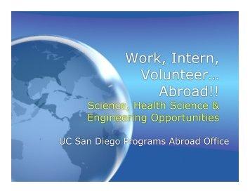 Work, Intern, Volunteer… Abroad!! - Programs Abroad Office - UC ...