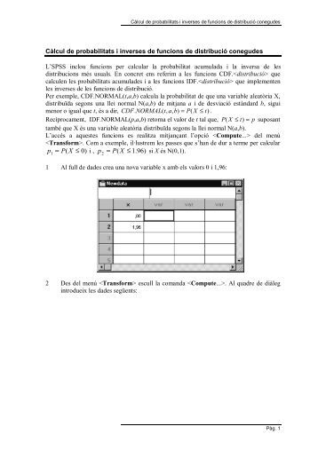 Càlcul de probabilitats i funcions de distribució conegudes