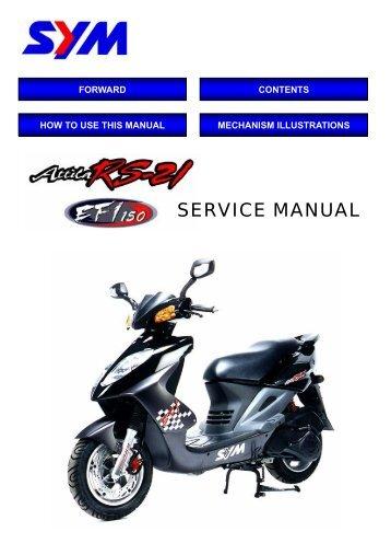 Sym motors sym vs 125 user manual download, owners guide / service.
