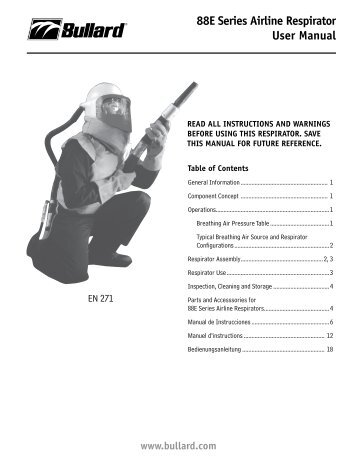 88E Series Airline Respirator User Manual - Bullard