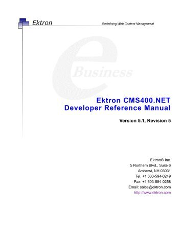 Ektron CMS400.NET Developer Reference Manual