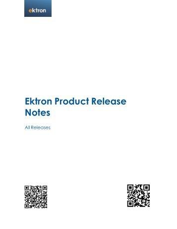 Ektron Product Release Notes - WebHelp - Ektron
