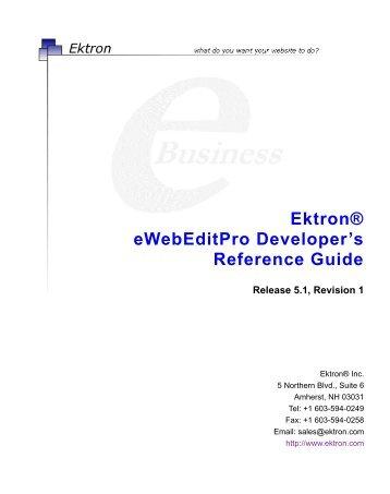 Ektron® eWebEditPro Developer's Reference Guide
