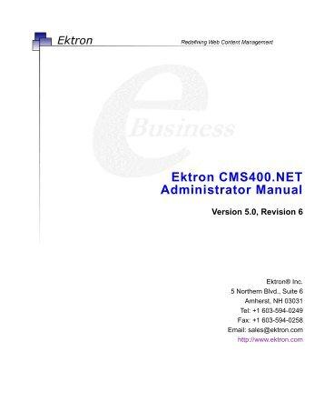 Ektron CMS400.NET Administrator Manual