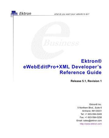 Ektron® eWebEditPro+XML Developer's Reference Guide
