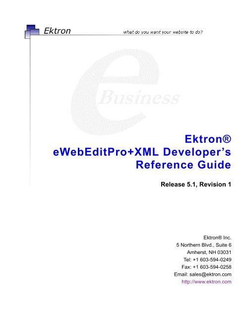 Ektron® eWebEditPro+XML Developer's Reference Guide on