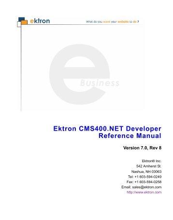 Ektron CMS400.NET Developer Reference Manual