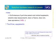 Radiation hardness research in Louvain ?Aims ? Facilities, equipments