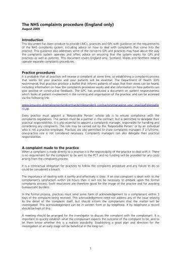NHS Complaints Procedure Guidance - BMA