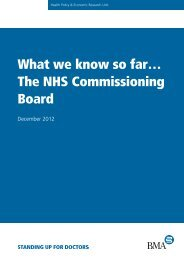 'What we know so far…the NHS Commissioning Board'. - BMA