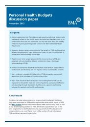 Personal Health Budgets discussion paper - BMA