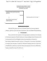 Codemasters Group Holdings Ltd. v. SouthPeak ... - Letters Blogatory