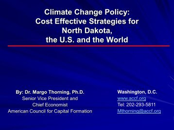Climate Change Policy: Cost Effective Strategies for North Dakota ...