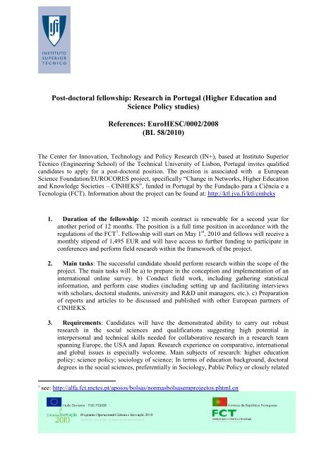 Post-doctoral fellowship: Research in Portugal - euroac