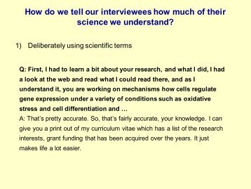 How do we tell our interviewees how much of their science ... - euroac