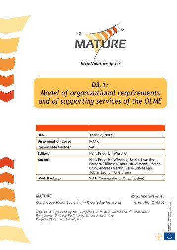 Model of organizational requirements and of ... - MATURE IP