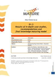 MATURE Deliverable 1.3 - Knowledge Maturing