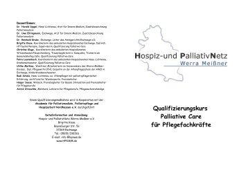 Qualifizierungskurs Palliative Care für Pflegefachkräfte