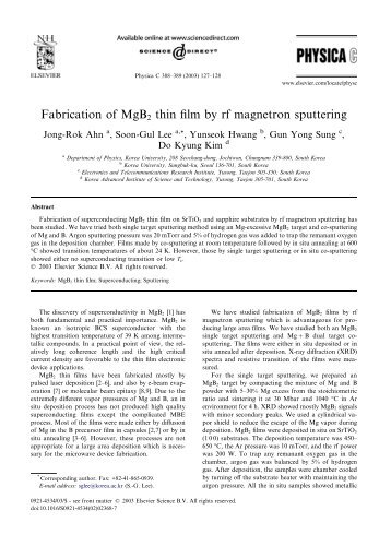 Fabrication of MgB2 thin film by rf magnetron sputtering