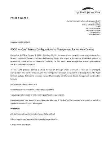 POCO Netconf: Remote Configuration and ... - Applied Informatics