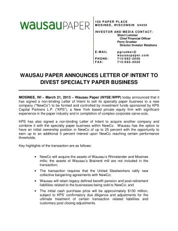 wausau paper announces letter of intent to divest specialty paper