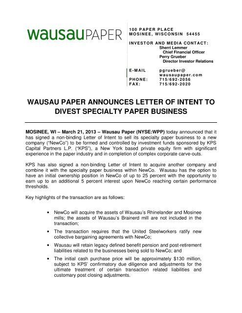 Investment Letter Of Intent.Wausau Paper Announces Letter Of Intent To Divest Specialty