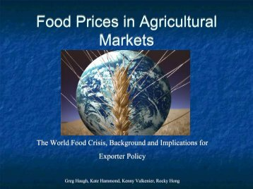 Food Prices in Ag Markets - Agricultural and Resource Economics