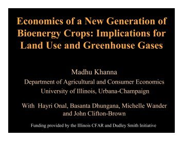 Economics of a New Generation of Bioenergy Crops: Implications for ...