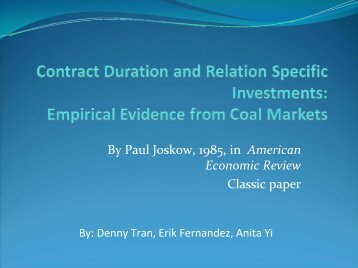 Contract Duration and Relation Specific Investments: Empirical ...