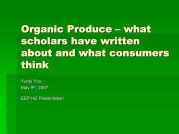 Organic Produce - Agricultural and Resource Economics