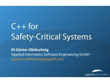 C++ in Safety-Critical Systems - Applied Informatics