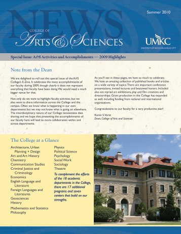 Special Issue July 2010 - College of Arts and Sciences - University ...