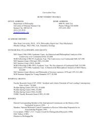 Curriculum Vitae - College of Arts and Sciences - University of ...