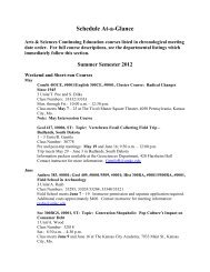 Schedule At-a-Glance - College of Arts and Sciences