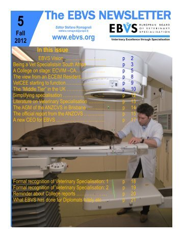 The EBVS NEWSLETTER - Australian College of Veterinary Scientists