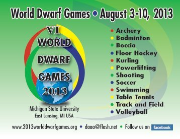 World Dwarf Games • August orld Dwarf Games • August 3