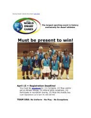 Must be present to win! - 2013 World Dwarf Games