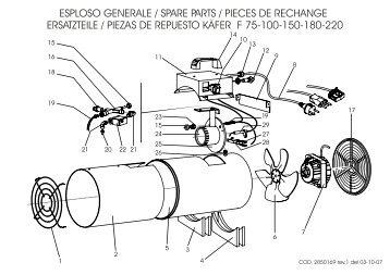 esploso generale / spare parts / pieces de rechange ersatzteile ...