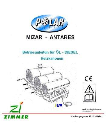 Page 1 ANTARES MIZAR Betriesanleitun für ÖL DIESEL ...